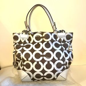 Coach Peyton Rare Op Art Signature Bag Brown/White